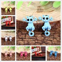 Wholesale Womens Ear Piercings - New Arrivals Womens Ladies Cat Earrings Puncture Ear Stud Piercing Earrings Crystal Alloy Fashion Cute Studs CA121