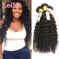 Wholesale Cheap Virgin Brazilian 3pc - Cheap Brazilian Hair Weaves Unprocessed Virgin Human Hair Wefts Hair Extensions 3pc Double Weft Deep Wave Three Bundles Curly