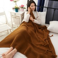 Wholesale Nordic Knitted - 125*170CM Nordic Knitting Blanket Polyester Stripe Pattern Knitted Blanket With Tassels Soft Warm Sofa Blanket