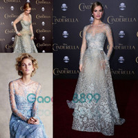 Wholesale Celebrity Black Dresses One Shoulder - Cinderella In Elie Saab Couture Red Carpet Celebrity Dresses 2017 Modest Sky Blue Lace Pearls Illusion Long Sleeve Prom Formal Dress