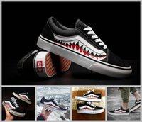 Wholesale Old Fashion - 2017 Hot Vans X Bape sharktooth Custom Sneakers Women And Mens Old Skool Convas Casual Fashion Sport Sneakers shoes 35-44