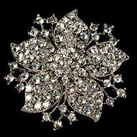 strasssteine für hochzeitseinladungen großhandel-Vintage-Rhodium Versilbert Klar Strass Kristall Blume Hochzeitseinladung Pin Brosche