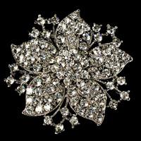 broşlar iğne düğün davetiyesi toptan satış-Vintage-Rodyum Gümüş Kaplama Temizle Rhinestone Kristal Çiçek Düğün Davetiyesi Pin Broş