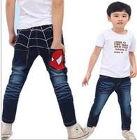Wholesale Spider Man Jeans - Wholesale-Free Shipping Autumn New Style Boys Spider-Man Cartoon Denim Jeans Cowboys Leisure Straight Jeans Children's Pants Kids