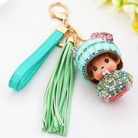 Wholesale Handbag Strap Rubber - Kawaii Monchhchi Doll with Tassel Wriist Strap Rhinestone Keychain Car Keyring Women's Girl's Kid's Handbag Pendant Charms Key Chains