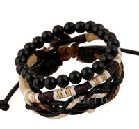 Wholesale Mens Bead Bracelets Wood - Wholesale-three-piece woven wood bead bracelet Classic Leather Bracelet wristband Jewelry Unisex mens charm bead shamballa bracelet bangle