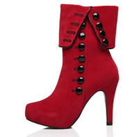 Wholesale European Knight - foreign trade in the European and American suede top and short boots red female boots for women 265