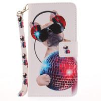 подставка для iphone оптовых-Окрашенные Мода милая собака шаблон флип стенд PU кожаный чехол для iphone 5 5s 6 6 6 s 6 плюс 6 splus 7 7 плюс слот для карты кошелек чехол для телефона