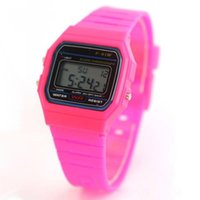 Wholesale Thin Watches Alarms - Silicone Led Watch alarm clock F-91W watches Men Women Child F-91W Sport watches F91 thin multicolour LED Jelly watch