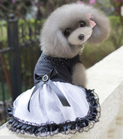 Wholesale Dogs Wedding Dresses - Top Spring & Summer Dog clothes Wedding Dress Puppy Pet Princess Lovely elegance Black Lace Clothes Free shipping wholesale 041