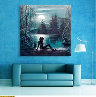 Wholesale Naked Oil Painting Women - Free Shipping Abstract Naked Woman with Sunrise Wall Art LED Canvas Spray Painting Light Up Framed Artwork Decoration Bedroom   Living Room