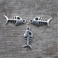 gümüş balıklar toptan satış-50 adet-Balık Kemikleri Charms, AntikTibetan gümüş Güzel Balık Kemik Charm Kolye 2 Taraflı 15x7mm