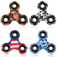 Wholesale Wholesale Soccer Flags - Camo Camouflage Soccer Flag Basketball Fidget Spinners Hand Spinner Triangle EDC Toys Decompression Tri-Spinner Gifts For Boys Free Shipping