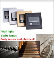 Recessed escadas do diodo emissor de luz Sensor do corpo Photocell Wall Sconce Lâmpadas 1w 110V 220V 240V Step Stairway Ladder Lighting