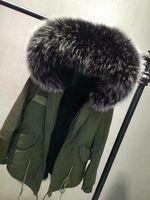 Wholesale Xs Dog Collar Green - Good quality Mr & Mrs Italy black rabbit Fur-lined mini Canvas green Parka Mr & Mrs furs winter warm coats