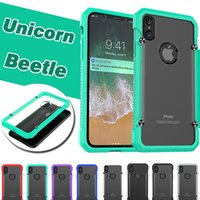 Wholesale Iphone Bumper Matte - Unicorn Beetle Hybrid TPU Bumper PC Matte Shockproof Protection Cover Case For iPhone X 8 7 Plus 6 6S 5S 5 Samsung Galaxy S8 S7 Edge