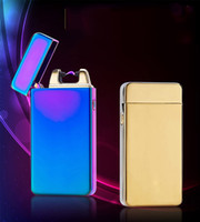 Wholesale Arc Shipping - Electric arc lighter Dual Arc Electric USB Lighter Rechargeable Metal Flameless Torch Windproof Flameless free dhl shipping