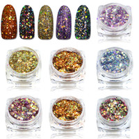 Wholesale Nail Polish Beauty Tips - Wholesale- STZ 1pcs New Arrival Mixed Colorful Hexagon Shape Nail Glitters Nail Art Glitter Pigment 3D Beauty Polish Tips T27-40