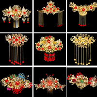 Wholesale Chinese Wedding Hair Accessories - Chinese Wedding Bridal Headdress Handmade Bride Crown Gold Plated Headpiece XiuHe Suit Hair Combs Accessories
