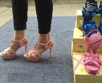 Wholesale Sandal Heels 3cm - Y Girls Shoe New Women High Heel Sandals Patent Genuine Leather Sandals Dresses Pumps 3cm Platforms Summer Shoes Woman Sandals ML1537