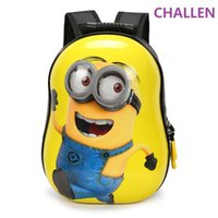 Wholesale Cartoon Boy Girl Hard - New children 3D backpack cartoon bags kids baby school bags cute yellow people schoolbag for kindergarten boy and girls gift