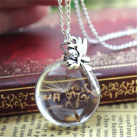 Wholesale Fairy Wish Necklace - 10pcs fairy real dandelion necklace. Make a wish supported by tinkerbell. Romantic airy silver jewelry Gift for her.