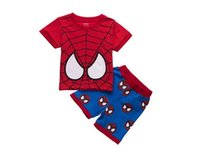 Wholesale T Shirts Boys Spiderman - Boys Spiderman Sets Summer Children Clothing Sets Children's Pajamas Tops Cartoon T-shirt+Short 2Pcs Sets Kids Summer Clothing Suits