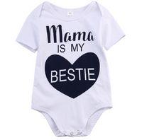 Wholesale sleepsuit romper - baby rompers white cotton bodysuit kids clothes newborn infant unisex romper short sleeve sleepsuit onesides mama letter print outfit