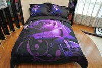 Wholesale Rose Bedspread Full - 3D Purple rose Comforter Sets of 3PC Light Weight Comforter Summer Duvet Bedspread Pillowcase Full Queen Size