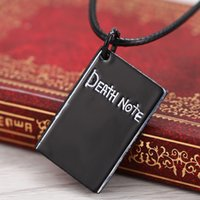 Wholesale Death Note Anime Necklace - Wholesale-2015 NEW Anime Death Note Necklace Black Notebook Alloy Pendant Necklace Rope chain Personalized Fashion