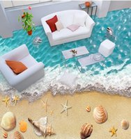 Wholesale back roll painting - Custom 3d photo wallpaper 3d floor painting waterproof-wallpaper-for-bathroom Beach 3d floors papel para pared
