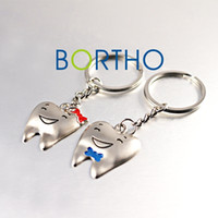 Wholesale Tooth Lover Couple Key Chain - One Pair Tooth Shape Dental Key Rings Key Chains for couples