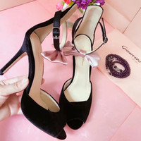Wholesale Back Bow Pumps - Summer Style Woman Thin Heel Bow tie buckle Suede Gladiator open toe peep toe Sandals Women High Heels Party Shoes pumps