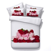 ingrosso copertine rosse fiorite coperte piene-Moda Red Rose 3D tessuto stampato biancheria da letto in cotone Set Twin Full Queen King Size Copripiumino Cuscino Shams Consolatore San Valentino Regalo Fiore