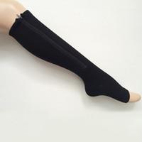 Wholesale compression leg sock resale online - Women Compression Zip Up Socks Slimming Shaper Leg pair