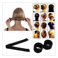 Wholesale Diy Hair Clips Covers - 2017 New DIY Hair Bun Black Women Hairagami Hair Bun Updo Fold Wrap Snap Magic Styling Tool Cover Hair Clip Bun Maker Tools DHL