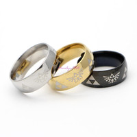 Wholesale Shiny Stainless Steel Rings - MF0803 Hot Sale LEGEND of ZELDA Ring Shiny Black Men's Tungsten Carbide Wedding Ring For Men woman