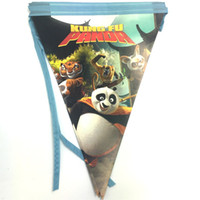 Wholesale Panda Papers - Wholesale- 12pcs Kong Fu Panda theme cartoon theme paper banner bunting party decoration Movie Character flag,350*30cm