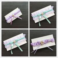 Wholesale Gift Satin Bow - 2017 New Green Purple Satin White Organza Set Pearl Ribbon Bow Wedding Bridal Hen Gift Garters Legs Rings Elastic Keepsake & Toss Garter