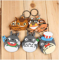 Wholesale Cute Cat Anime - 20pcs lot Classic Anime Cute My Neighbor Totoro Cat Bus PVC Figures Keychains Pendants Toys 8cm 5 Styles