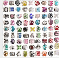 Wholesale wholesale loose crystals - Wholesale Mixed Theme 100pcs Silver Enamel Beads Crystal Loose European Charms Bead Fit Pandora Snake Chain Bracelet DIY Fashion Jewelry