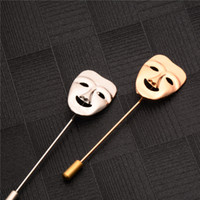 Wholesale Mask Brooches - Wholesale- 2017 Fashion Vintage Mens Clothes Jewelry 3D Happy Mask Brooches Gold Plated Men's Suits Accessories Lapel Pin Brooches