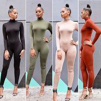 Wholesale Womens Long Sleeve Romper - Wholesale- Womens Long Sleeve Bodysuit Bodycon Cotton Jumpsuit Playsuit Romper Bodysuits Casual