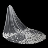 Wholesale 5m Wedding Veil - 2017 Luxury Cathedral Length Wedding Veils 5M Long Bridal Veils Ivory Lace Appliques Pearls 3D Flower Bride Veil High Quanlity Free Shipping