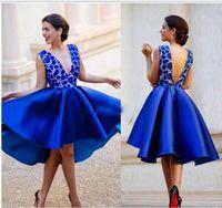 Wholesale Transparent Cocktail Dresses - Navy Blue Knee Length Cocktail Dresses 2017 New Sexy Applique Transparent Top Taffeta Skirts Short Evening Party Gowns