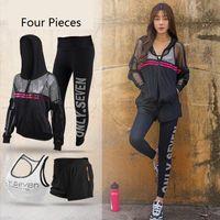 Wholesale Sports Wear Women Winter - Autumn winter new fitness yoga suit net - worn garment blouse and trousers bra sport suit