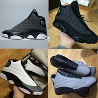 Wholesale Mens Pvc Boot - high quality air retro 13 XIII MENS Basketball Shoes black cat Bred Navy Game hologram grey toe Flint Grey Athletics Sport Sneaker Boots