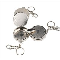 other outdoor smoking ashtrays - Outdoors Mini Round Cigarette Ashtrays Keychain Portable Metal Ashtrays Stainless Steel Pocket Ashtray smoking tools Accessory