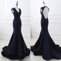 Wholesale Real Image Evening Dresses - 2017 Real Images Designed Navy Blue Mermaid Prom Evening Occasion Dresses Beaded Crystals Cap Sleeves Open Back Long Train Party Gown CPS565