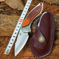 Wholesale BUCK Tactical Hunting Knives C27M Steel Folding Blade Knife with Rosewood Handle Leather Sheath Outdoor Jackknife Survival Tools